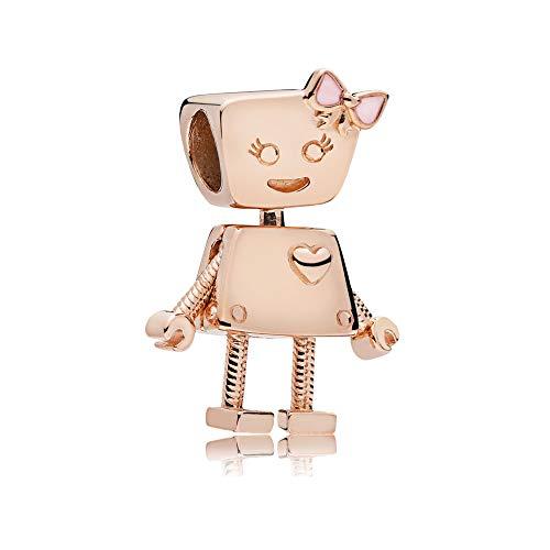 Bella Bot Charm Authentic 925 Sterling Silver Robot Beads fit Pandora Bracelets (Rose Gold & Pink Enamel)
