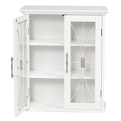 Victorian 20-1/2 in. W x 24 in. H x 8-1/2 in. D Bathroom Storage Wall Cabinet with 2 Glass Doors in (Victorian Wall Storage)