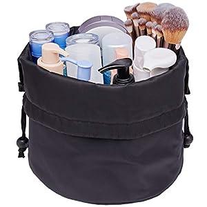 Barrel-Makeup-Bag-Travel-Drawstring-Cosmetic-Bag-Large-Toiletry-Organizer-Waterproof-for-Women-and-Girls-Large-Black