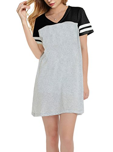 SWISSWELL Tshirt Dress Women Plus Size Sleepshirt Black&Grey 2X-Large