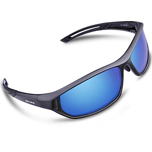 RIVBOS Polarized Sports Sunglasses Driving Comfortable Sun Glasses for Men Women Tr 90 Flexible Frame for Cycling Baseball Running 840 (Black Ice - For Sunglasses Baseball Players