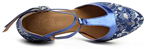 US Salsa Shoes Pattern Bachata Strap Blue 9 Dance Performance Honeystore T B Latin Women's M w4Tq6tq