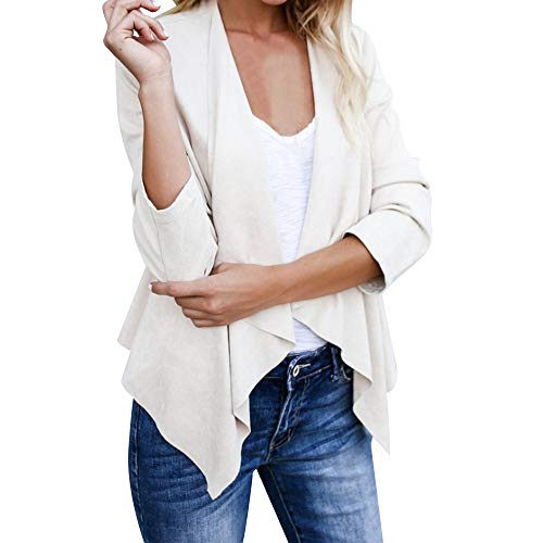 JOFOW Suede Cropped Jacket Coat Womens Solid Lapel Faux Leather Waterfall Collar Short Tunic Slim Cardigan Autumn Winter (XS,White)