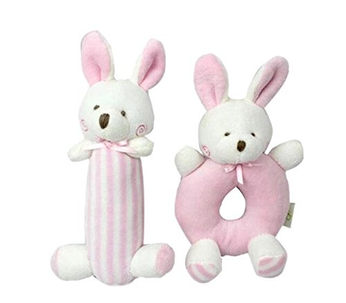 Pink Bunny Plush Rattle Set for 0-36 Months Infant Development Grasp Ring and Stick Toy; Newborn Stuffed Animal Hand Rattle Dolls Perfect for Shower Gift and Crib (Harry Potter 18 Doll Costume)
