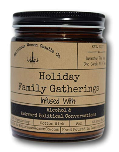 Malicious Women Candle Co - Holiday Family Gatherings, Twisted Mint & Pine Infused with Alcohol & Awkward Political Conversations, All-Natural Organic Soy Candle, 9 oz -
