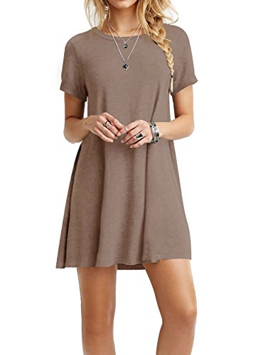 TINYHI Women's Swing Loose Short Sleeve Tshirt Fit Comfy Casual Flowy Tunic Dress Coffee