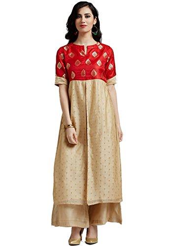 Brocade Kurta - Jaipur Kurti Women's Red Brocade Kurta with Cream Chanderi Palazzo