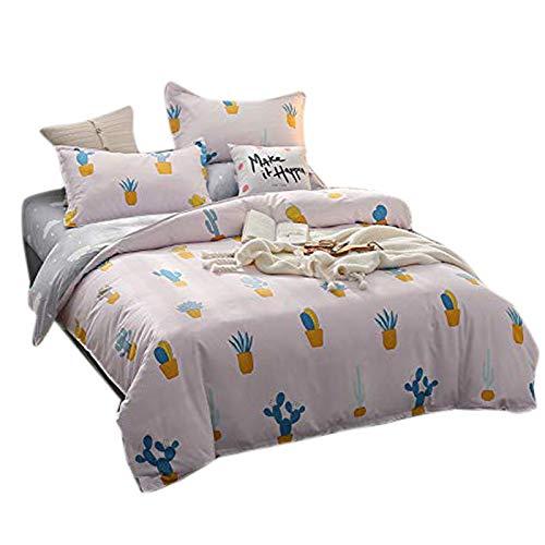KFZ Bed Set Bedding Sheets Set Duvet Cover No Comforter Top Flat Sheet Pillow Case ZF1808 Twin Full Queen King Set Sweet Pineapple Gophers Cartoon Designs (Green Cactus, Pink, King 86