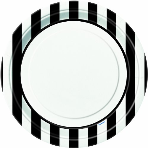 Black Striped Paper Plates, (Black And White Sweet 16)