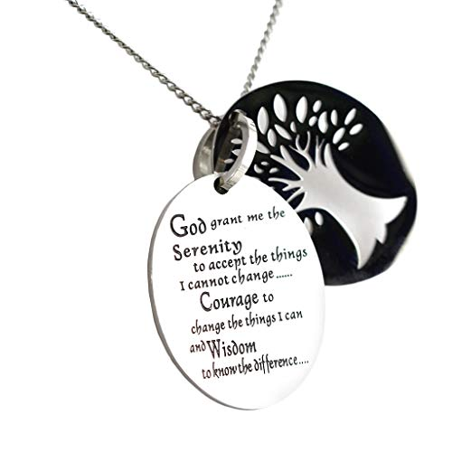 Rush Industries Two Piece Serenity Prayer Pendant Necklace With Tree Of Life Cut Out - Prayer Necklace - 12 Step Jewelry (The Complete Serenity Prayer By Reinhold Niebuhr)