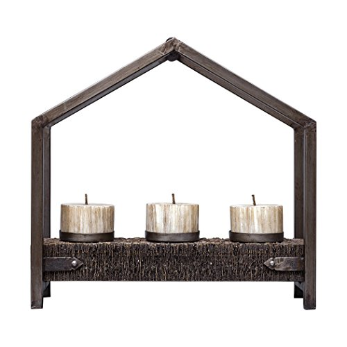 (My Swanky Home Rustic Bronze Geometric 3 Pillar Candle Holder | Textured Tribal Tent Brown Iron)
