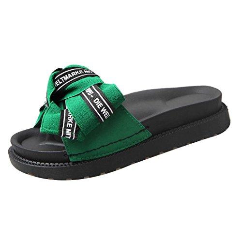 悲しいことに引退するスキームレディース伸縮性フラットサンダル、レディースビーチフラットシューズ蝶結びBohemia Slippeサンダルリベットpeep-toe Flip Flopsウェッジ靴