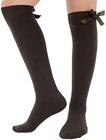iTRONiK 3 Pairs Girls bow Knee High Socks School Socks With Satin Bow all Size Back to school Socks