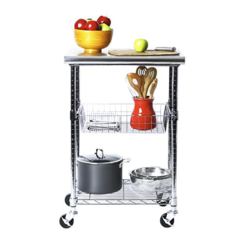 "Seville Classics Stainless-Steel NSF-Certified Professional Kitchen Work Table Cart, 24"" W x 20"" D x 36"" H, 2 ft from Seville Classics"