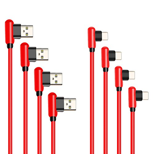 USB Type C Cable,4 Pack(1ft 3ft 6ft 10ft) 90 Degree Right Angle Design USB C Charger Cord Samsung Galaxy S8 Note 8, LG V20 G6 G5, Google Pixel, Nexus 6P 5X More USB C Port Devices(Red-Type C) by SCGK