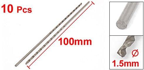 uxcell 10 Pcs Straight Shank 55mm Flute Long 1.5mm Dia Drill Twist Bit
