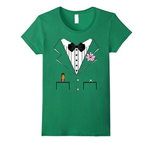 Womens Groom Tuxedo Wedding Halloween Costume T-shirt XL Kelly Green (Tuxedo Halloween Costume Ideas)