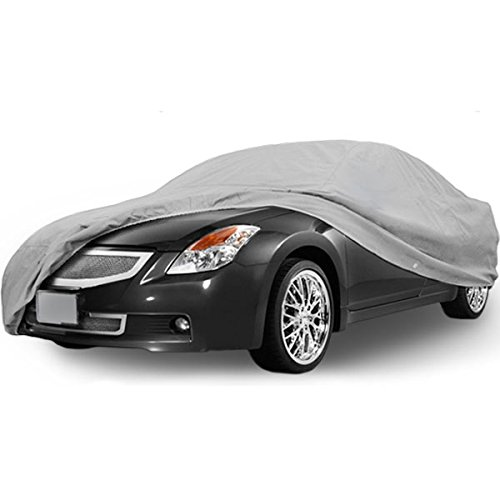 "SUPERIOR TRUE 100% WATERPROOF CAR COVER COVERS MID SIZE SEDAN - ALL SEASON PROTECTION - GRAY COLOR - 3x PILLOW SOFT INNER COTTON LAYER (FITS LENGTH 210"" - 225"")"