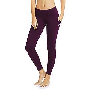 """Baleaf Women's Yoga Workout Leggings Side Pocket For 5.5"""" Mobile Phone Dark Magenta M"""