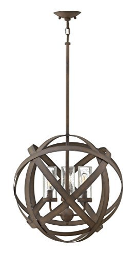 Hinkley 29703VI Contemporary Modern Three Light Outdoor Chandelier from Carson collection in Bronze/Darkfinish,
