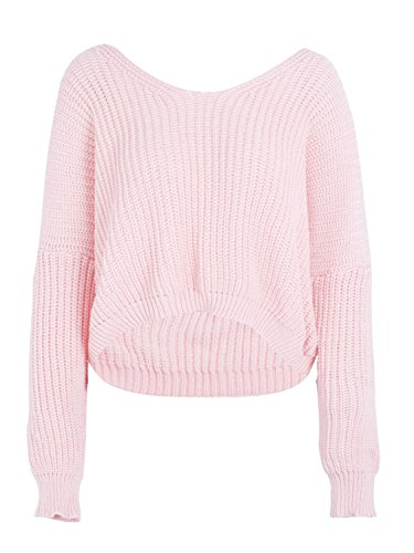 BerryGo Women's Sexy Criss Cross Lace Up V Back High Low Knitted Sweater (Pink,One (Pink Bow Knit Sweater)