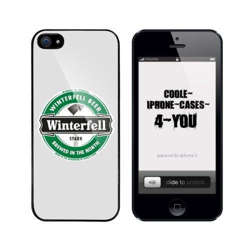 Iphone 5 / 5S Schutzhülle Winterfell Beer - schwarzer Rahmen