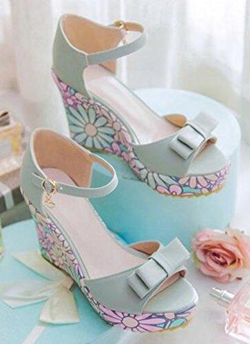 Easemax Womens Sweet Floral Bows High-wedge Hakken Platform Sandalen Blauw