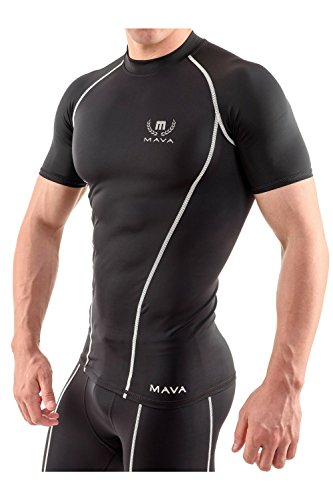 Mava Sports Men's Short Sleeve Compression T Shirt - Workout Baselayer Shapewear (Black & Silver, XX-Large)