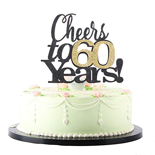 LVEUD Black Font Golden Numbers Cheers to 60 Years Happy Birthday Cake Topper -Wedding,Anniversary,Birthday Party Decorations (60th)