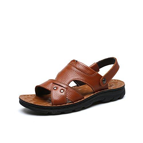 De De Hombres Zapatos Amarillo De Los Marrón Nuevo Sandalias Verano Zapatos De Zapatillas Hombres Negro F Gran De WKNBEU Tamaño Casual Los 2018 Playa Padre De Cuero nRqzB4Hwf