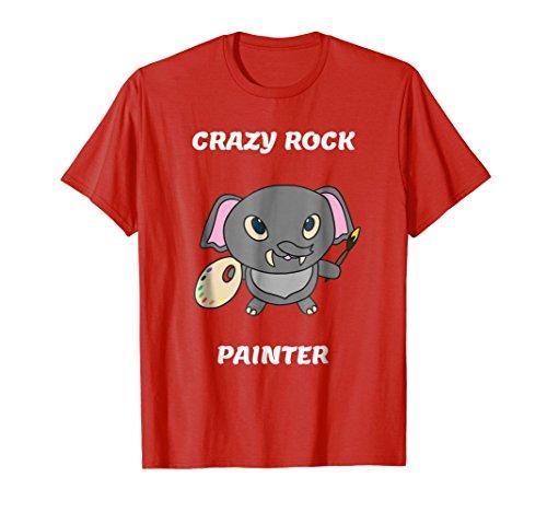 Crazy Rock Painter Funny Elephant Painting T Shirt (Rock Kids T-shirt Animal)