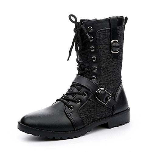 Tebapi Mens Backpacking Boots Autumn Punk Martin Boots Men Fashion Pu Leather Lace-up Motorcycle Boots Black Vintage High Top Buckle Shoes Man Xmx516 Black 7 Black Patent Riding Boot