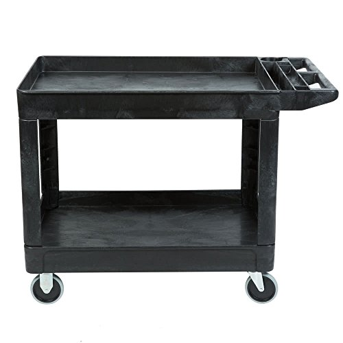 l Products Heavy-Duty Utility Cart, Flat Handle, 2 Lipped Shelves, Medium, Black (FG452089BLA) ()