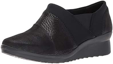 Clarks Women's Caddell Denali Slip-On Loafer, Black, 5 M US