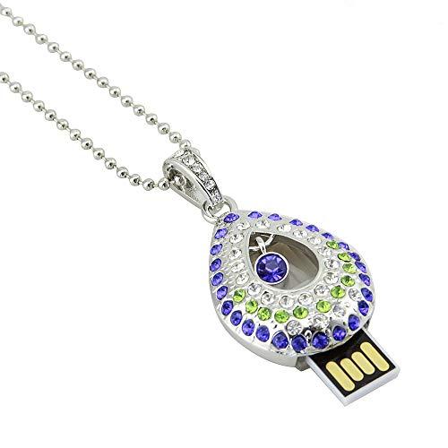 Diamond Jewelry USB Flash Drive 32GB Crystal Necklace Pendant USB 2.0 Thumb Drive Pen Drive Jump Drive Gift(32GB,USB Necklace ()