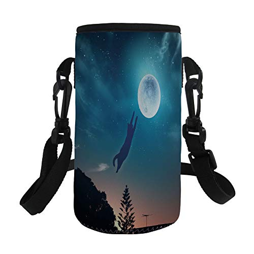 Fantasy Long Seat - Small Water Bottle Sleeve Neoprene Bottle Cover,Cat,Cat Jumping in the Air Catching the Moon at Night Sky with Stars Fantasy Artwork,Blue Magenta,Great for Stainless Steel and Plastic/Glass Bottles, S
