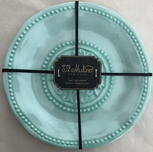 "IL Mulino 100% Melamine 4-Dinner Plates (11"" Diameter) 2-Tone HOBNAIL TURQUOISE"