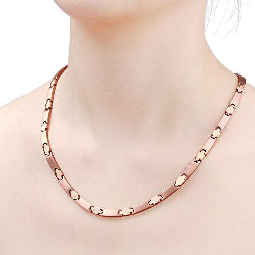 Rose Gold Titanium Magnetic Necklace 4 Element Cross Pain Relief for