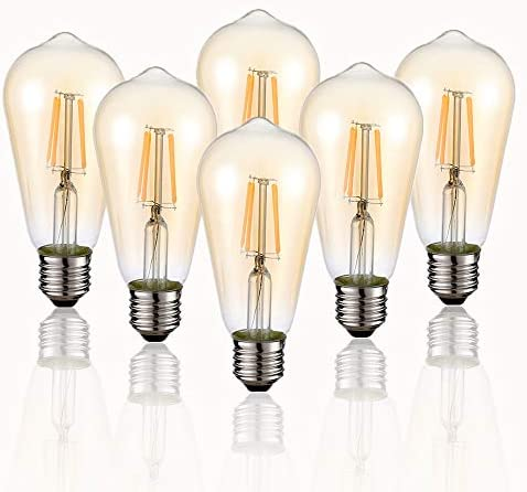 Vintage Edison LED Bulb, 6-Pack ST58 E26 40 Watt Equivalent, Warm White 2200K-2700K, Antique Vintage Style Light, Squirrel Cage Filament Edison Light Bulbs Amber Glass,Non Dimmable