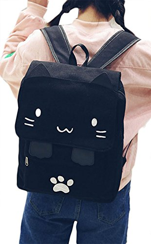 Korean Cute Cat Canvas Backpack Student Cartoon Embroidery School Bag Daypack size One Size (Black(white))