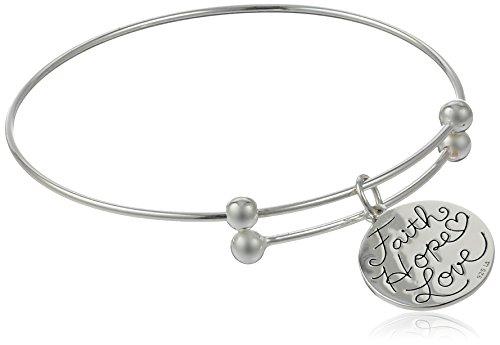 "Sterling Silver Adjustable""Faith Hope Love"" Cross Charm Bracelet"