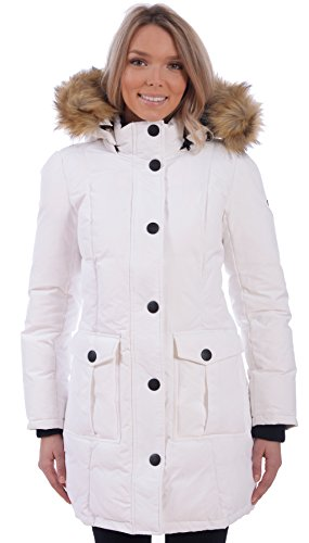 RedX Canada Women's Long Puffer Down Winter Coat With Faux Fur Lined Hood (White, Medium) (White X 100 Of Coat)