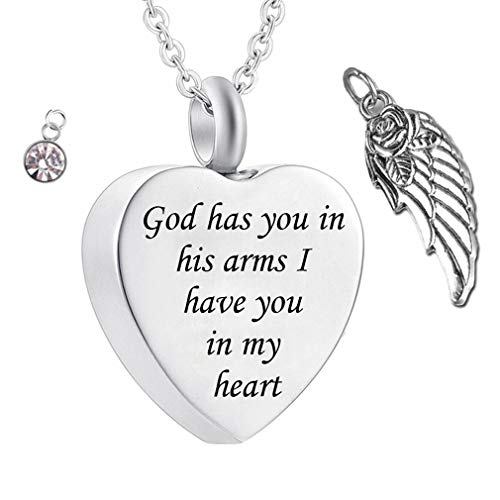 God has You in his arms with Angel Wing Charm Cremation Ashes Jewelry Keepsake Memorial Urn Necklace with Birthstone Crystal (April)