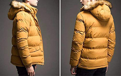 Winter Windproof Thick Clásico Boy Down Coat Cotton Coat Jacket Long Zipper Hooded Laisla fashion Detachable Men's Sleeve Jacket with Gelb q4RgEC