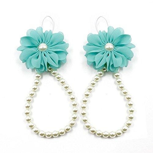 Foot Jewelry for Women Teen Girls Great Foot Bracelet1Pair Infant Pearl Chiffon Barefoot Toddler Foot Flower Beach Sandals BU