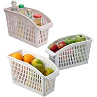 4 Adet Buzdolabı İçi Düzenleyici Sepet Beyaz Ve Şeffaf Renkli Dolap İçi Organizer Düzenleyici