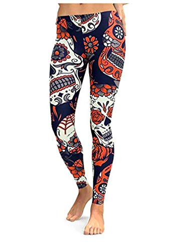 Maxi Halloween Skull face Costumes Scale Leggings Clothes Running Workout Pants Uniform Tights for Women
