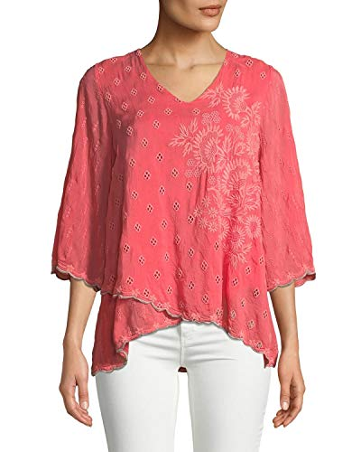 Johnny Was Women's Aria Rayon V-Neck Tipping Trim Georgette Blouse, Passion Fruit, XX-Large ()