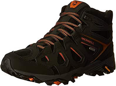 Image Unavailable. Image not available for. Colour: Merrell Men's MOAB FST  LTR Mid WTPF Ankle Boots, Black/Orange ...