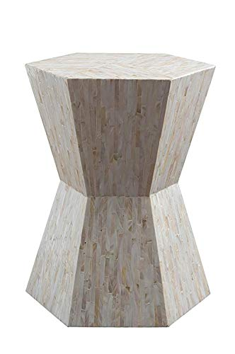 Abington Lane Mother of Pearl End Table/Night Stand - Unique Modern Hexagonal Top Perfect for Placing a Desk Lamp Great for Living Room/Bedroom Simple and Modern (Classic Ivory) ()